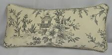 Pillow made w Ralph Lauren Saint Honore Gray Floral Fabric 15x7 Self Cording NEW