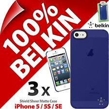 3 X Nuovo Belkin Shield Sheer Matte Hard Case Cover Blu per Apple iPhone 5 5S SE