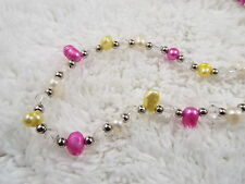 Long Crystal Bead White Pink Yellow Cultured Freshwater Pearl Necklace (A11)