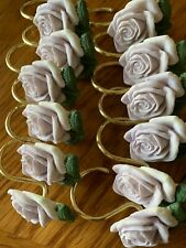 Lavender Purple Roses Shower Curtain Hooks Set Of 12