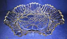 Vintage Cut Glass Fruit Vegetable Grape Serving Dish Tray Platter Plate
