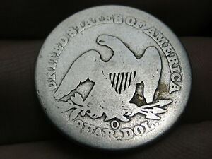 1857 O Silver Seated Liberty Quarter