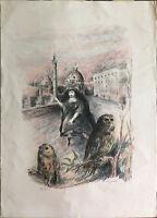 DOMENICO PURIFICATO litografia Roma 70x50 firmata numerata timbro La Barcaccia
