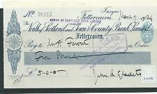wbc. - CHEQUE - CH1019 - USED -1924-NORTH of SCOTLAND BANK,FETTERCAIRN overprint