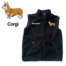 Welsh Corgi Dog Fleece Vest with Zippers Personal Name Stitched Monogrammed