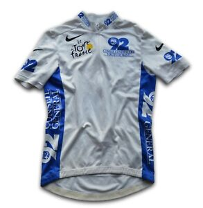 """RETRO 2003 TOUR DE FRANCE TREK YOUNG RIDERS WHITE CYCLING JERSEY 34"""" CHEST"""