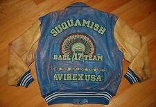Vintage AVIREX Varsity SUQUAMISH BALL 17 TEAM Embroidered  Leather Jacket Size S