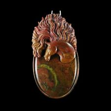 & A Gem Bead Ge605008 Carved Forest Fire Jasper Horse