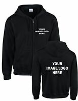 PERSONALISED ZIP UP HOODIES - ANY TEXT - Unisex - Workwear, Sports, Fun, Adults