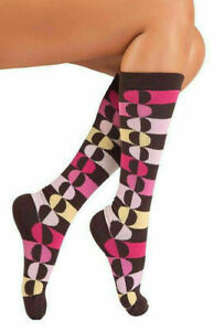 Lucci Brown Calf High Socks 9-11 Rainbow design, soft comfortable, mostly cotton