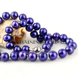 "18"" 10-12mm Dark Purple Freshwater Pearl Necklace Strands Jewelry UE"