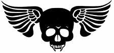 CUT VINYL DECAL STICKER FOR MOTORBIKE OR HELMET ETC. HELLS ANGEL WINGED SKULL
