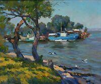 Original Impressionist Landscape Oil Painting -  Old Bay on River - Ukraine