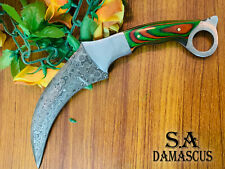 Custom Handmade Damascus Steel Karambit Knife For hunting with Leather Cover