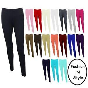 Women New Plain Stretch GIRLS Ladies Full Long Length Skiny LEGGINGS S/M TO XXXL
