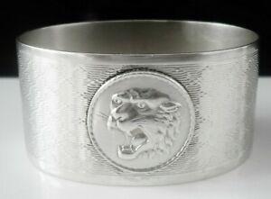 Silver Napkin Ring with Tiger's Head, Henry Matthews, Birmingham 1929