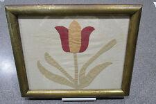 Antique - Vintage Framed Quilt Square Tulip Pattern - Possibly Amish Made
