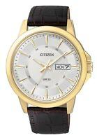 Citizen Men's Quartz Gold Tone Calendar Brown Leather 41mm Watch BF2018-01A