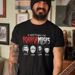 A History of Horror Masks Jason Halloween Corona Spruch Lustig Spaß Fun T-Shirt
