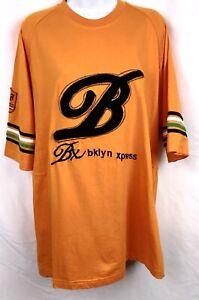 "Bklyn Xpress (Brooklyn Express)Orange With Fuzzy Black Script ""B"" Size Large"