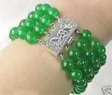 "Natural 4 Rows 8mm emerald gemstone bracelet 7.5"" C30277"