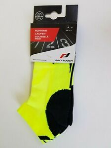 Pro Touch Running Ankle Socks - Adult Sizes 3 - 10 Yellow Black LOUI UX Training