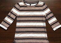 J. Crew 100% Cotton Women's Brown Stripped Blouse Shirt Size XS