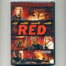 RED 2010 PG-13 action comedy movie, new DVD Bruce Willis, Freeman, Malkovich CIA