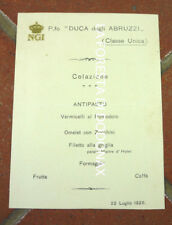 menù nave nautica maritime marina DUCA DEGLI ABRUZZI TRANSATLANTICO ngi 1926
