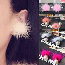 Fashion Womens Fur Pearl Double Side Ear Stud Earrings Statement Jewelry