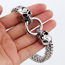 Bangle 316L Stainless Steel Bracelet Gift Cool Gothic Silver Men's Skull Chain