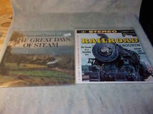 2 DIFFERENT RAILROAD SOUNDS AND SONGS ALBUMS TRAIN STEAM DIESEL LOCOMOTIVE