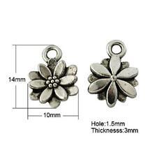 20 fleurs antique silver charms LF NF-Daisy pendentifs - 14mm x 10mm
