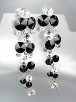 EXQUISITE Black Clear Czech Crystals Chandelier Long Dangle CLIP Earrings 1057