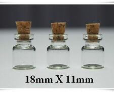 Wholesale Lot of 100 Clear Cork Glass Bottles Vials 11x18mm approx 0.5 ml USA