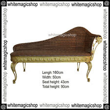 Hand Crafted Classic Chaise Iron Frame Gold Colour Wicker Dark Brown NEW
