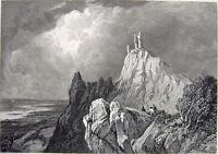 Germany DRACHENFEL'S CASTLE DRAGON'S ROCK Siebengebirge 1833 Art Print Engraving