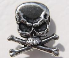 Biker Skull & Bones Totenkopf Knochen Druckknopf Knopf Druckknopfoberteil Snap