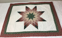 Patchwork Quilt Wall Hanging, Star With Diamonds, Flower & Leaf Calico Prints