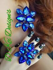 Button Dance earrings for Jewelry Drag Queen Blue Adjustable Huge rings clip on
