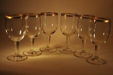 Set of Six Vintage Wine Glasses with Gold detail      #150