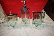 STUNNING 3PC SET CLEAR GLASS SQUARE SOAP DISPENSER+TOOTHBRUSH+Q-TIP HOLDER