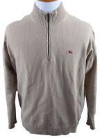 MINT Burberry London Lambswool 1/4 Zip Neck Sweater MENS MEDIUM Tan Italy