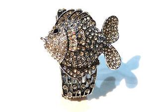Bijou alliage argenté bracelet poisson cristal bangle