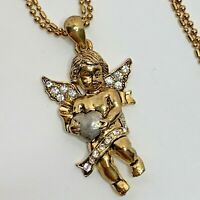 Cherub Angel with Heart Rhinestone Pendant Double Strand Necklace Gold Tone JS