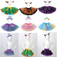 Girls Halloween Skirts Fancy Party Outfits Kids Halloween Cosplay Tutu Skirt Set