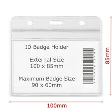 ID Badge Holder 100 x 85mm Plastic Pocket Holder Clear Pouches for lanyards pass