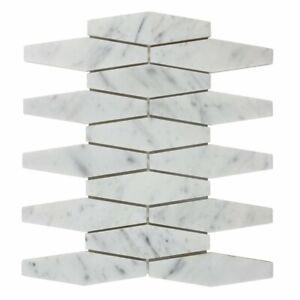 Modern 1.25X5 Hexagon White Gray Carrara Marble Mosaic Tile *Dark Veins MTO0478