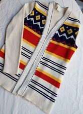 Vintage 1960s polyester red yellow blue ribbed open cardigan varsity sweater S/M