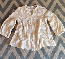S New ANTHROPOLOGIE Women's Cream Prairie Peasant Lace V Neck Blouse Top SMALL